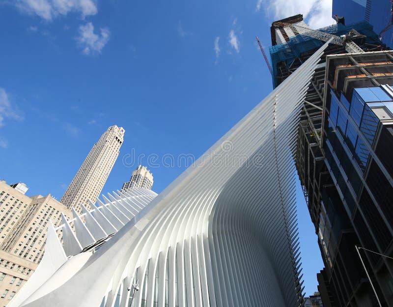 科技目前进步水平世界贸易中心运输插孔由圣地牙哥・卡拉特拉瓦设计了 库存图片
