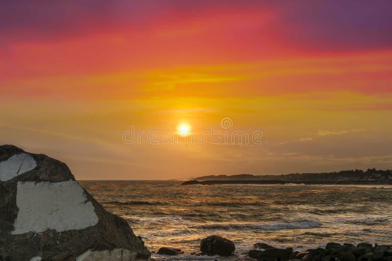 科摩林角着迷的日落  库存照片