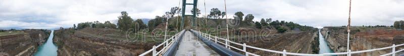 科林斯湾运河全景  图库摄影