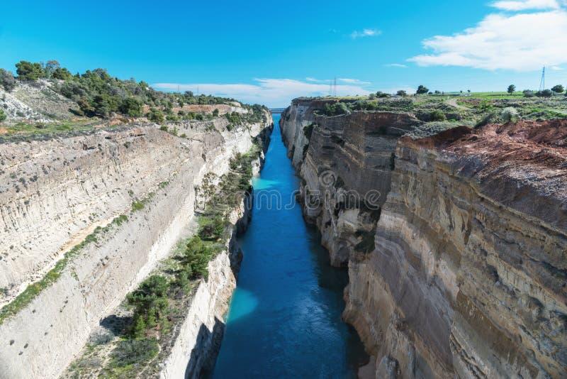 科林斯湾运河的看法在希腊 库存照片