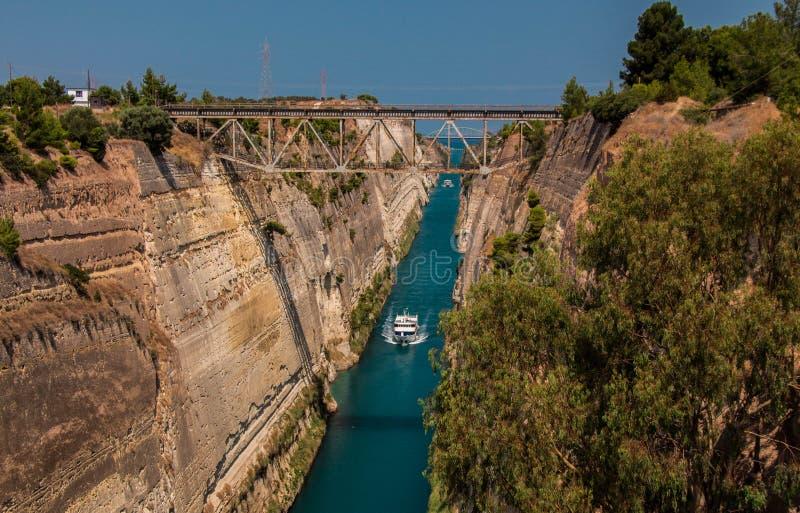 科林斯湾运河,希腊 免版税图库摄影
