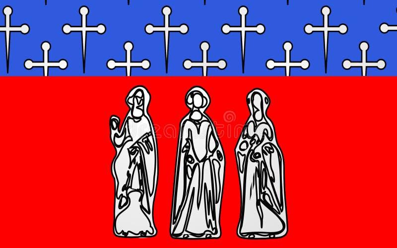 科梅尔西,法国旗子  库存例证