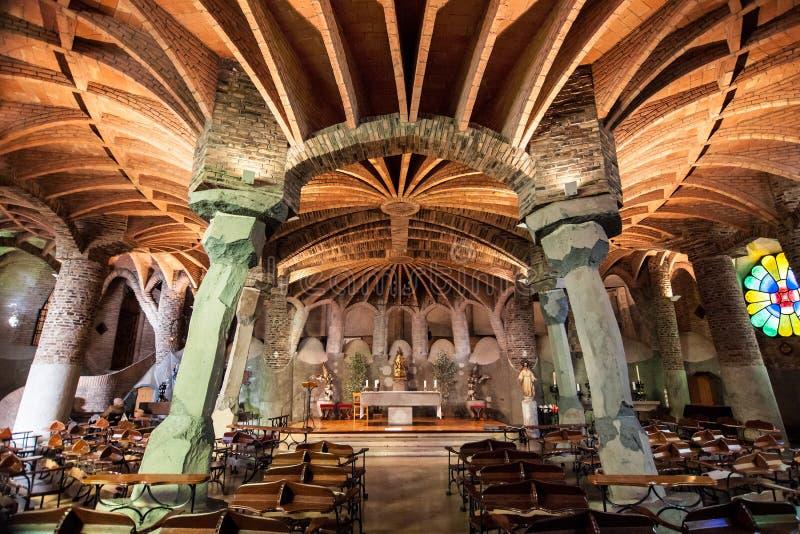 科洛尼亚省Guell教会  库存照片