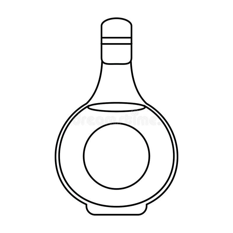 科涅克白兰地瓶alcochol饮料样式概述 库存例证