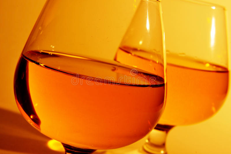 科涅克白兰地玻璃用白兰地酒 库存图片