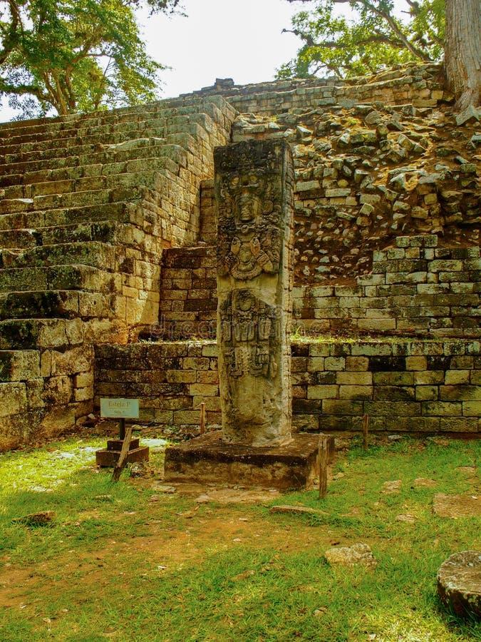 科潘考古学站点在洪都拉斯 免版税库存照片