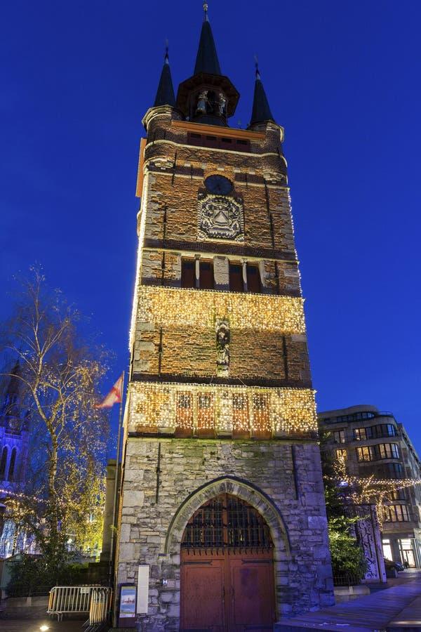 科特赖克钟楼在比利时 免版税库存图片