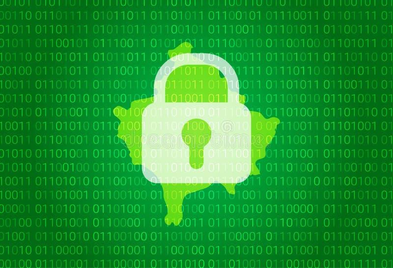 科索沃地图  例证有锁和二进制编码背景 阻拦的互联网,病毒攻击,保密性保护 向量例证