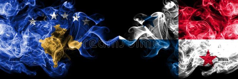 科索沃对肩并肩被安置的巴拿马发烟性神秘的旗子 厚实色柔滑抽科索沃和巴拿马旗子的组合 库存例证