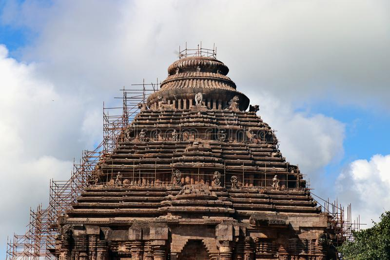 科纳尔克在Odisha,印度 在科纳克太阳神庙的古老印度寺庙 库存图片