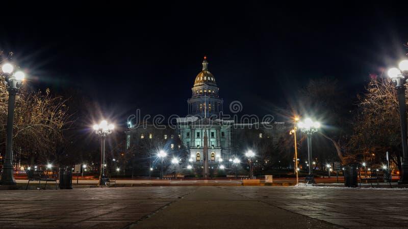 科罗拉多国家资本在晚上 免版税库存照片