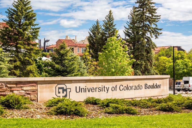 科罗拉多大学巨石城标志 免版税库存图片