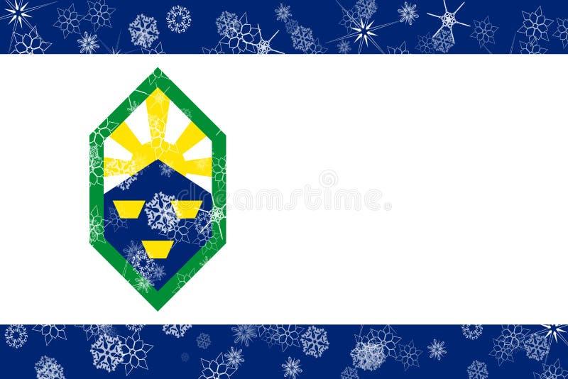 科罗拉多斯普林斯,科罗拉多冬天雪花旗子背景 美国状态团结了 库存例证