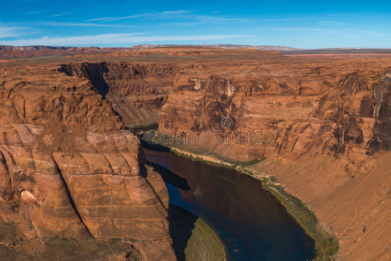 科罗拉多河马掌弯河曲幽谷峡谷的,亚利桑那 免版税库存照片