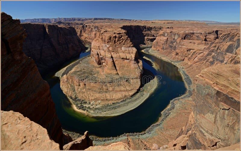 科罗拉多河,亚利桑那,美国的马掌弯 库存图片