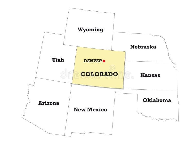 科罗拉多状态地图以邻国 皇族释放例证