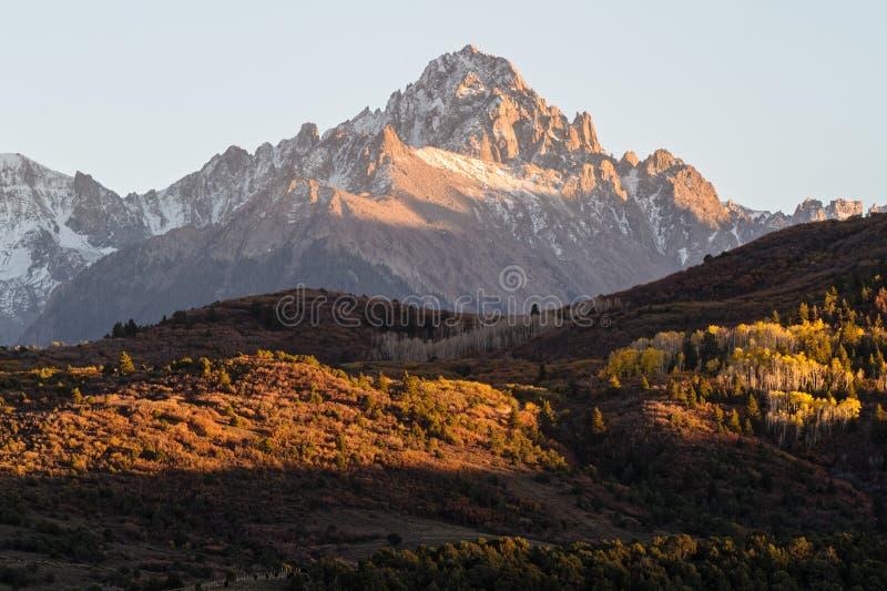 科罗拉多落矶山的风景秋天秀丽 库存图片