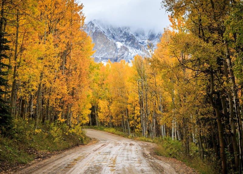 科罗拉多落矶山-秋天场面的优美的风景 库存照片