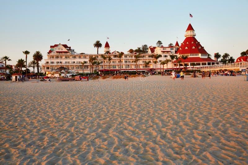 科罗纳多海滩和科罗纳多台尔Hotel 免版税库存图片