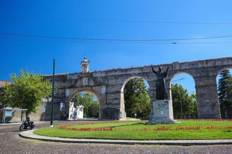 科英布拉,葡萄牙罗马渡槽  图库摄影