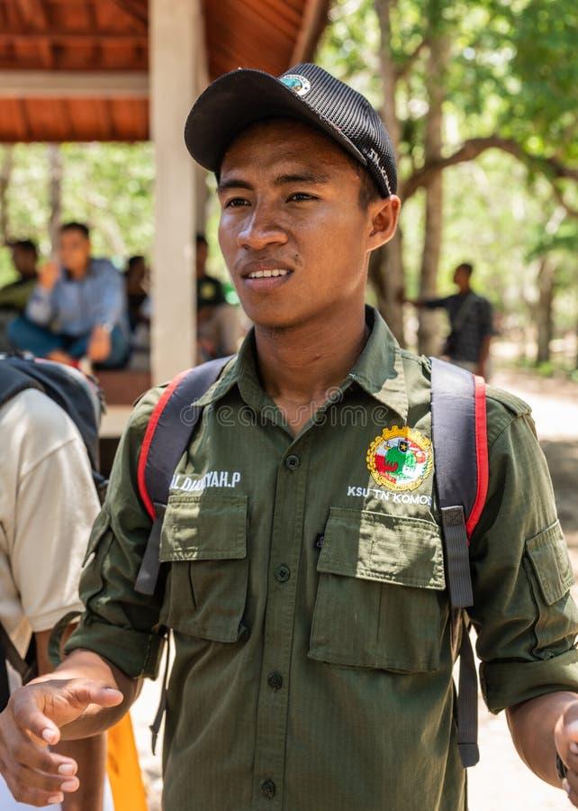 科莫多国家公园的,印度尼西亚别动队员 免版税库存照片