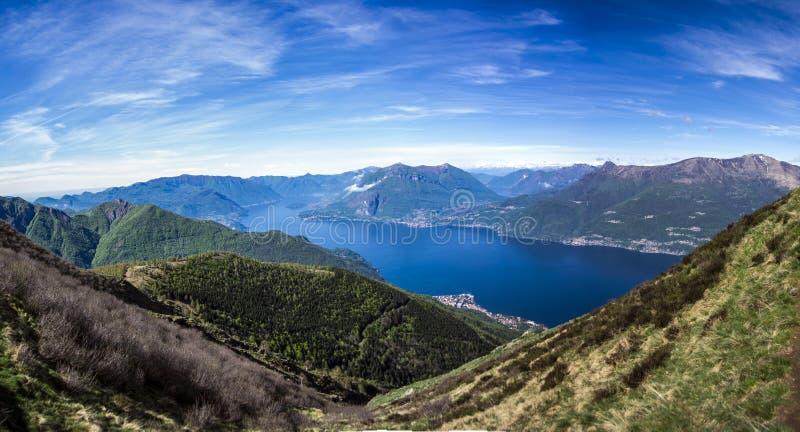 科莫湖风景,意大利 免版税库存照片