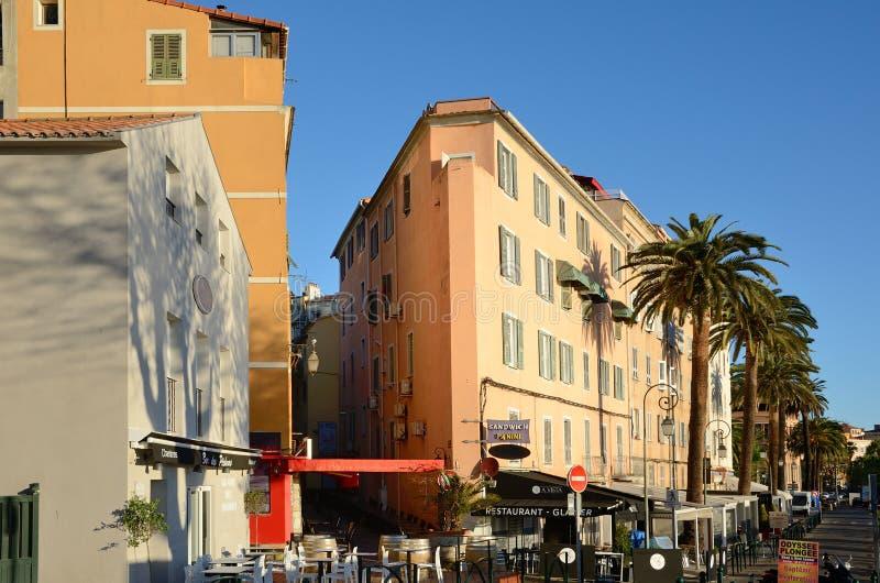 科西嘉岛城市阿雅克修的街道早晨 免版税图库摄影