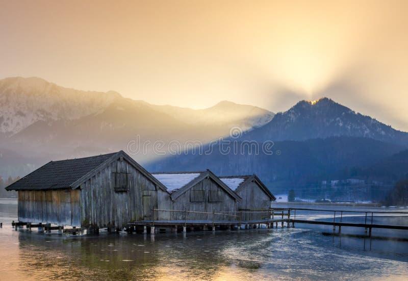 科赫尔湖的,巴伐利亚,德国船库 图库摄影