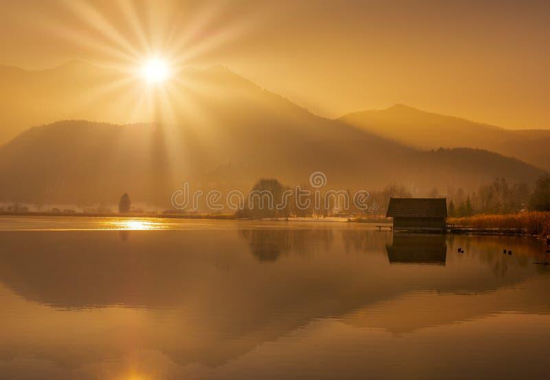 科赫尔湖的,巴伐利亚,德国船库 库存照片