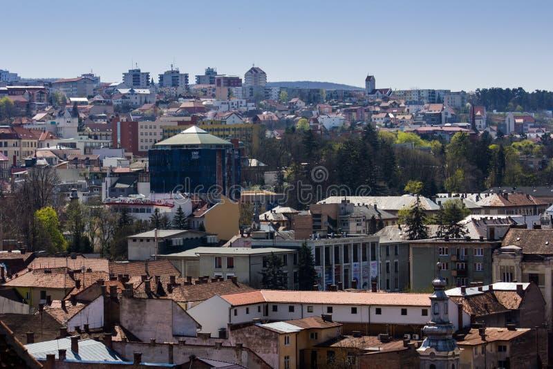 科鲁- Napoca市看法从上面 免版税库存图片