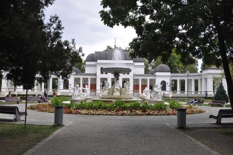 科鲁Napoca RO, 9月24日:中央公园喷泉前面赌博娱乐场大厦在从特兰西瓦尼亚地区的科鲁Napoca在罗马尼亚 免版税库存图片