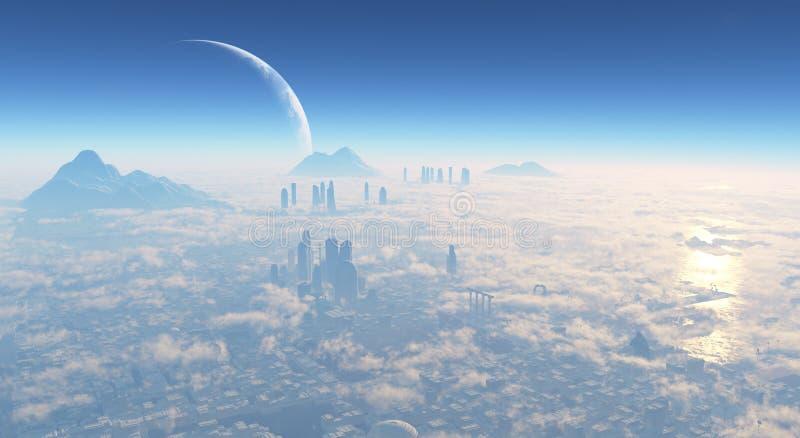 科幻城市 皇族释放例证