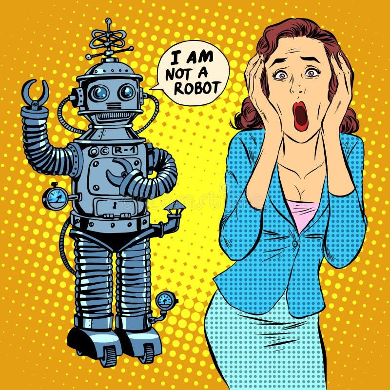 科幻恐怖机器人妇女恐慌 库存例证
