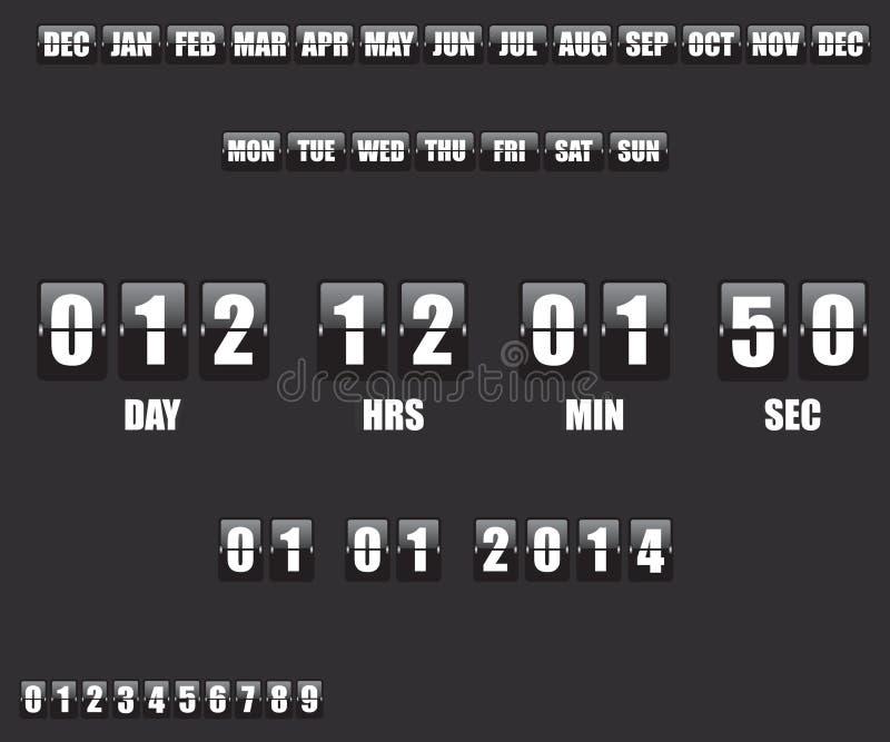 读秒定时器和日期在黑背景 向量例证