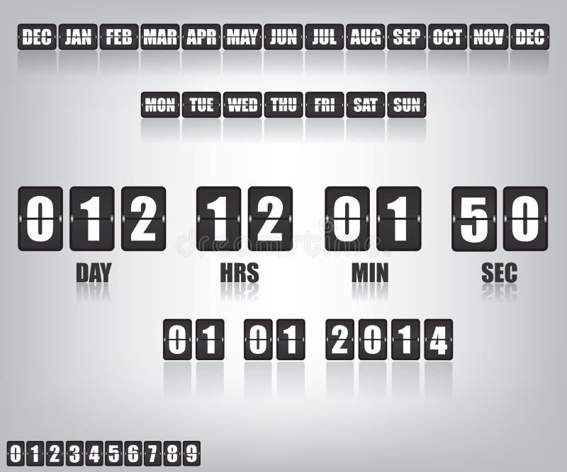 读秒定时器和日期 向量例证