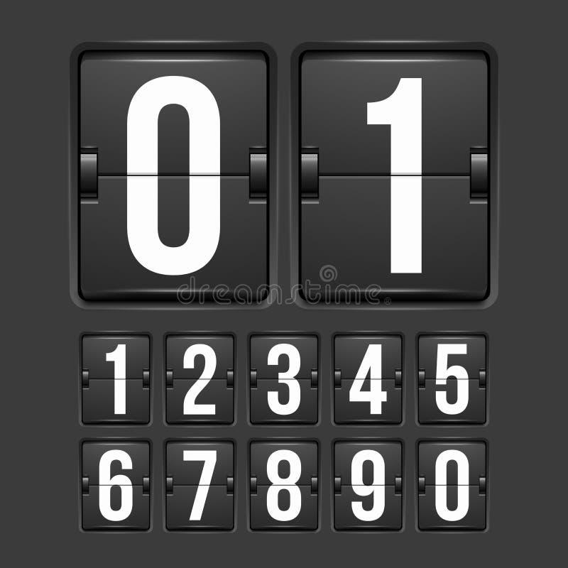 读秒定时器,白色颜色机械记分牌 向量例证
