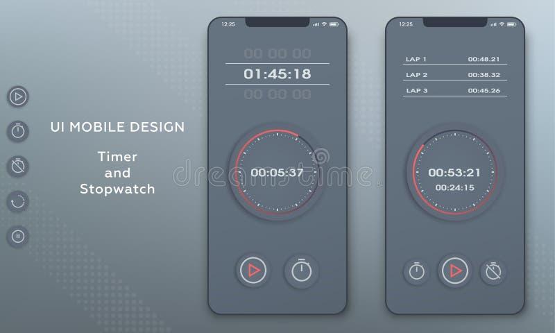 秒表和定时器时钟应用 UI手机 库存例证