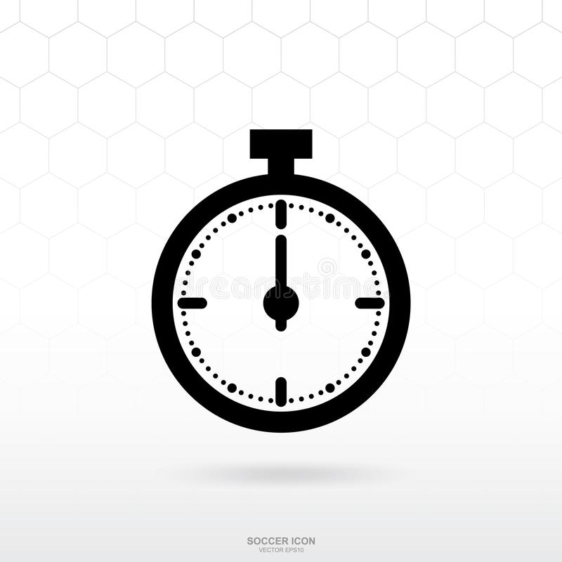 秒表象或时钟象 足球橄榄球体育标志和标志 向量例证