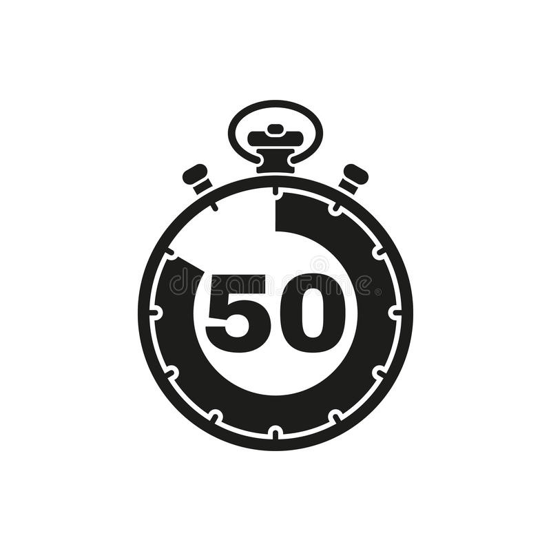 50秒,分钟秒表象 时钟和手表,定时器,读秒标志 Ui 网 徽标 标志 平的设计 阿帕卢萨马 皇族释放例证