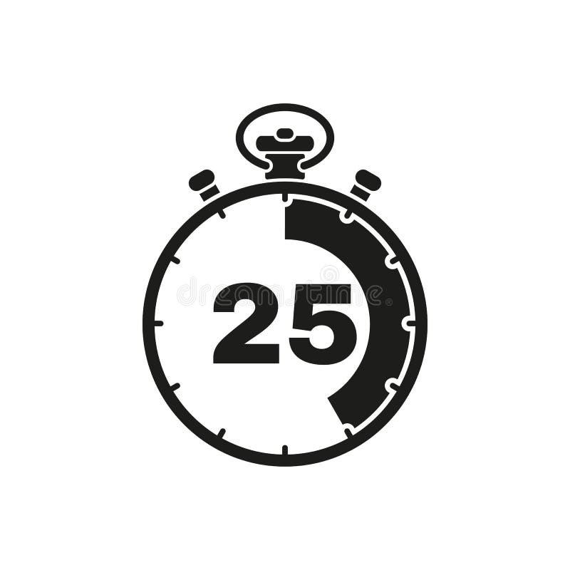 25秒,分钟秒表象 时钟和手表,定时器,读秒标志 Ui 网 徽标 标志 平的设计 阿帕卢萨马 库存例证
