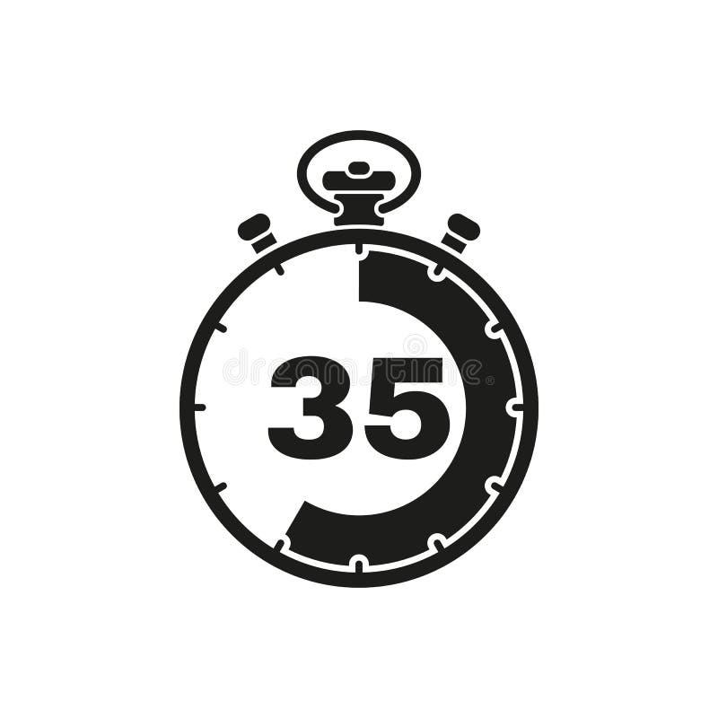 35秒,分钟秒表象 时钟和手表,定时器,读秒标志 Ui 网 徽标 标志 平的设计 阿帕卢萨马 向量例证