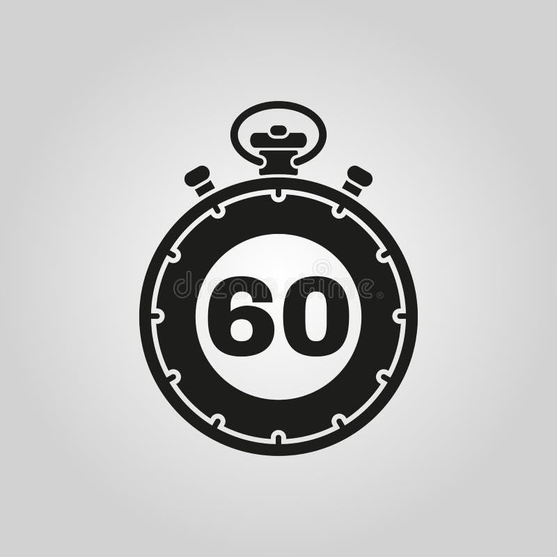 60秒,分钟秒表象 时钟和手表,定时器,读秒标志 Ui 网 徽标 标志 平的设计 阿帕卢萨马 向量例证