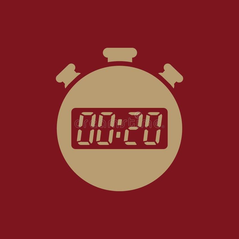 20秒,分钟秒表象 时钟和手表,定时器,读秒,秒表标志 Ui 网 徽标 标志 平面 向量例证