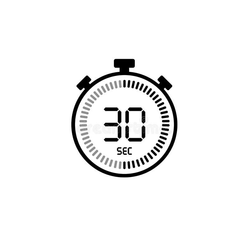 30秒,秒表象,数字定时器 报时表,定时器,读秒标志 向量例证