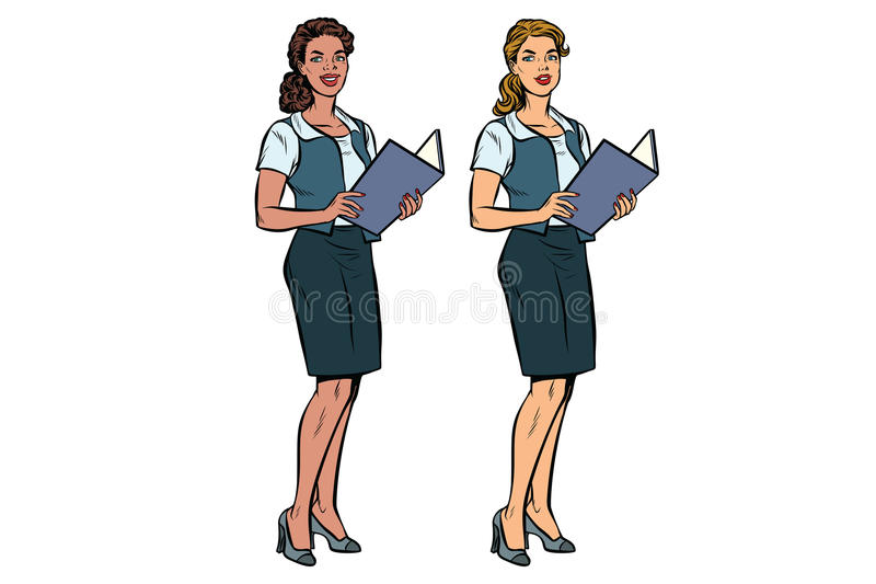 秘书充分长两名的妇女,不同种族的小组 库存例证