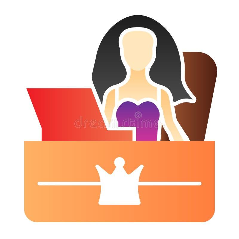 秘书办公室平的象 女孩雇主在时髦平的样式的颜色象 总台梯度样式设计 皇族释放例证