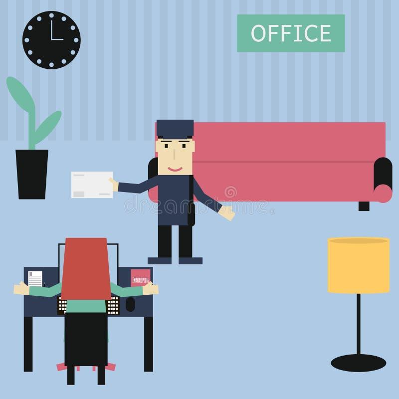 秘书在办公室/传讯者带来了信件 向量例证
