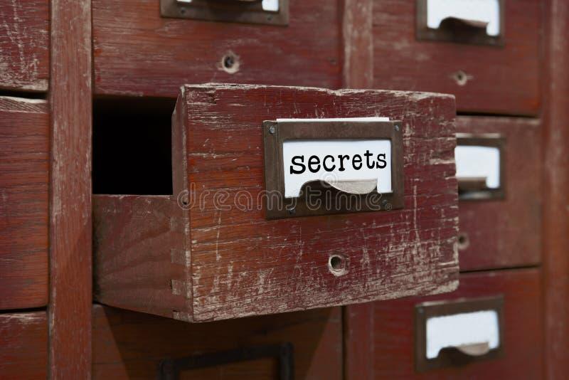 秘密文件概念图象 被打开的箱子档案存贮,档案橱柜内部 有索引卡片的木箱 图书馆 免版税库存照片