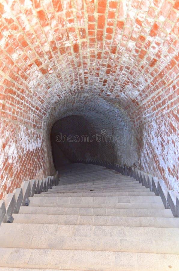 秘密隧道-卡罗来纳州城堡在阿尔巴尤利亚,罗马尼亚 库存照片