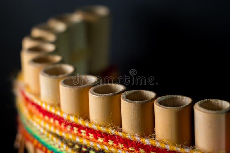 秘鲁乐器由竹子制成 库存图片